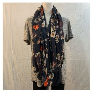 H&M blue/orange floral semi sheer infinity scarf